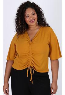 Blusa Feminina Plus Size Cropped Canelada Com Franzido Manga Curta Decote V Caramelo