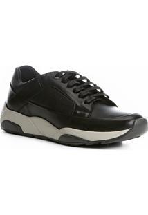 Tênis Couro Shoestock Jogging Masculino - Masculino-Preto