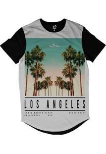 Camiseta Longline Long Beach La Beach Sublimada Masculina - Masculino-Preto