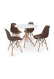 Conjunto Mesa De Jantar Maitê 80Cm Branca Com 4 Cadeiras Charles Eames - Marrom