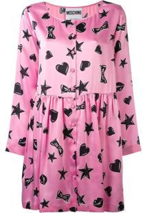 Moschino Vestido Com Estampa De Corações - Rosa