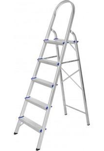 Escada De Alumínio Dobrável 5 Degraus Premium Integral Cinza