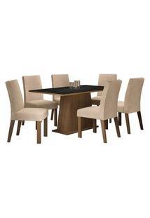 Conjunto Sala De Jantar Madesa Luciana Mesa Tampo De Madeira Com 6 Cadeiras Rustic/Preto/Imperial Cor:Rustic/Preto/Imperial