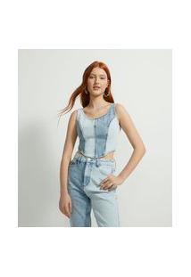 Blusa Cropped Jeans Bicolor