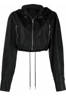 Givenchy Jaqueta Cropped Com Capuz E Estampa De Logo - Preto