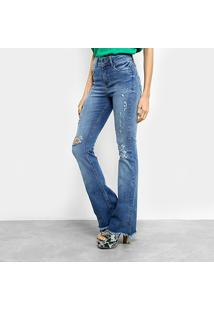2dea0f7920 ... Calça Jeans Flare Colcci Feminina - Feminino-Azul