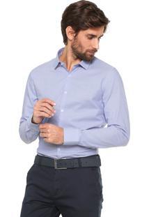 Camisa Calvin Klein Slim Cannes Branca/Azul