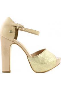 Sandália Bottero - Feminino-Bege+Dourado