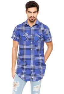 Camisa Long Zami Concept Shirt Ziper Mm- Xadrez Azul