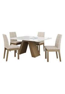 Conjunto Sala De Jantar Madesa Ayla Mesa Tampo De Vidro Com 4 Cadeiras Rustic/Branco/Fendi Rustic/Branco/Fendi
