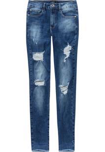 Calça Jeans Skinny Destroyed Malwee