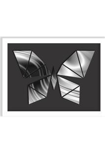 Quadro Decorativo Em Relevo Espelhado Borboleta Prateada Branco - Grande
