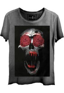Camiseta Estonada Skull Lab Caveira Flores Grafite