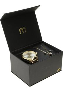 Kit De Relógio Mondaine Analógico Feminino + Colar + Brinco - 76505Lpmvde1Kb Dourado