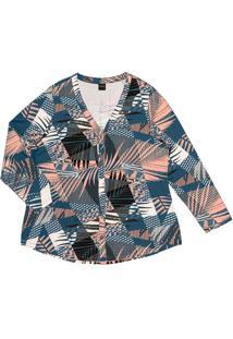 Camisa Estampada Feminina Rovitex Plus Azul