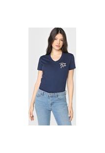 Camiseta Tommy Jeans Logo Vintage Azul-Marinho