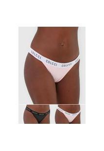 Kit 2Pçs Calcinha Colcci Underwear Fio Dental Lettering Preto/Rosa