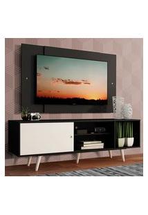 Rack Madesa Dubai Com Pés E Painel Para Tv Até 58 Polegadas - Preto/Branco 7777 Preto