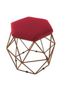 Puff Aramado Bronze Assento Hexagonal Suede Vermelho - Ds Móveis