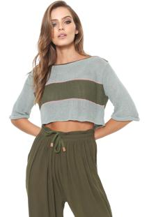 Blusa Cropped Redley Tricot Listras Verde