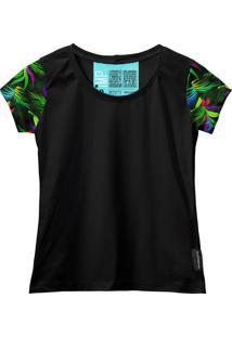 Camiseta Baby Look Feminina Algodão Estampa Folha Moderna Azul-Preto G Preto