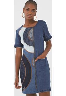 Vestido Jeans Desigual Curto Recortes Azul
