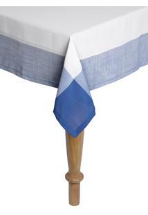Toalha De Mesa Retangular Naturalle Chamonix Branco E Azul 2,2Mx2,2M