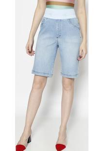 Bermuda Jeans Com Elã¡Stico- Azul Claro- Dbz Jeansdbz Jeans
