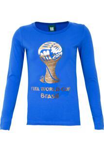 Blusa Licenciados Copa Do Mundo Taça Dourada Azul