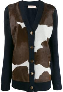 Tory Burch Cow Knit Panelled Cardigan - Azul