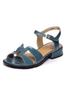 Sandalia Azul Com Salto Baixo - Riverside 7735