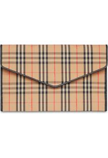 Burberry Medium 1983 Check And Leather Envelope Pouch - Neutro