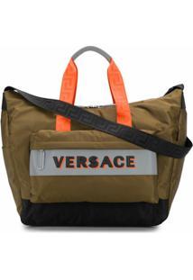 Versace Bolsa Tote Com Patch De Logo - Marrom