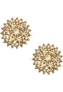 Brinco Lovelee Acessórios Flor Strass Cristal Dourado