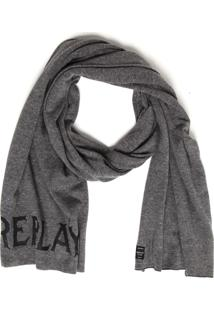 Cachecol Replay Tricot Logo Cinza