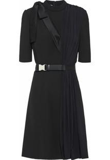 Prada Vestido Com Pregas - Preto