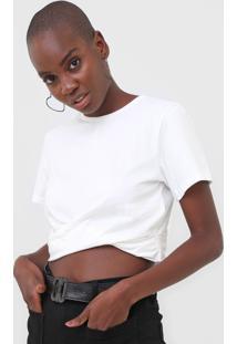 Camiseta Cropped Colcci Torção Off-White