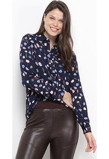 Camisa Social Facinelli Estampada Feminina - Feminino-Marinho