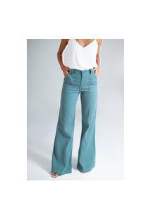 Calça Pantalona Sarja Cotelê - Nikko Verde