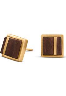 Brinco Wooden Design Quadrado Traço Em Prata 925 - Madeira E Dourado