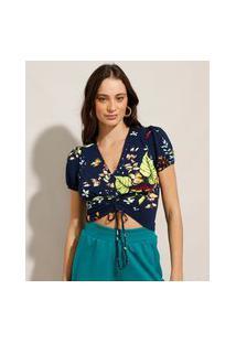 Blusa Cropped Estampada Floral Com Franzidos Manga Curta Decote V Azul Marinho