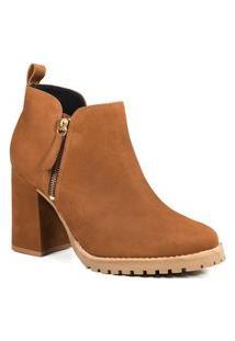 Bota Feminina Em Couro Zariff Ankle Boot Zariff Marrom