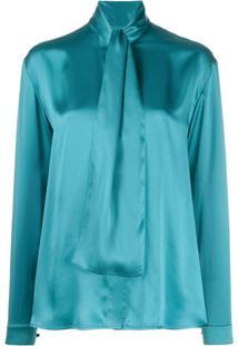 Balenciaga Blusa Com Detalhe De Nó - Azul