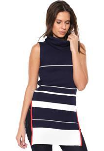 Blusa Calvin Klein Jeans Tricot Fendas Azul/Off-White