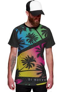 Camiseta Di Nuevo Miami Beach Palmeiras Coloridas Swag Preta