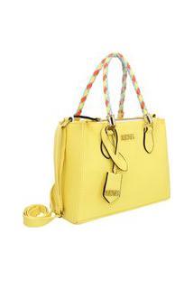 Bolsa Feminina De Lado Com Alça Colorida Selten Amarela