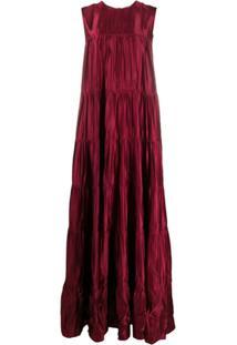Nº21 Vestido De Festa Longo Plissado - Vermelho