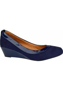 Sapato M Shuz Anabela Feminino - Feminino-Azul