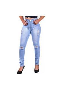 Calça Jeans Clara Destroyed Skynni Cos Alto Mania Do Jeans