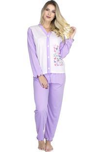 Pijama Longo Bravaa Modas Feminino Blusa Aberta Botões 014 Lilás